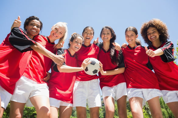 team of female soccer players