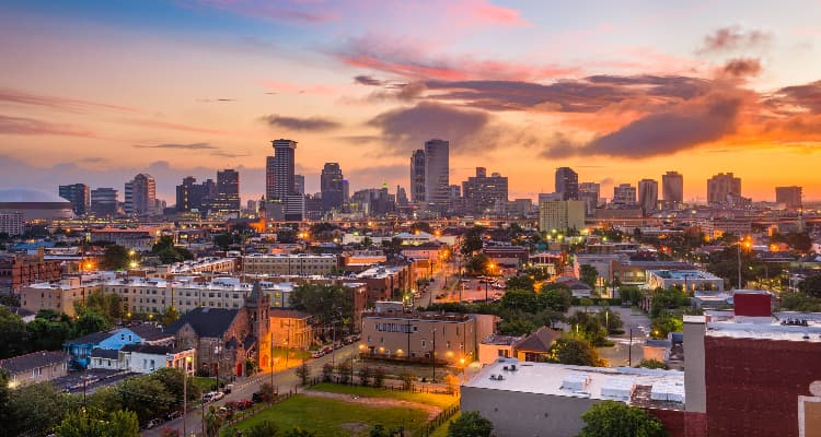 a view of the New Orleans skyline at sunset